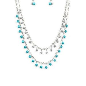 Turquoise and silver necklace with earrings